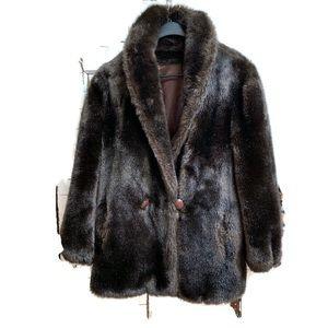 Vintage Faux Fur 1960s jacket Large Brown oversize